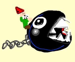 Gnome rides chain chomp