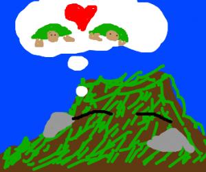 sleeping hillside dreams of turtles in love