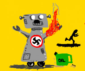 Robo Hitler now has an arm of FIRE!