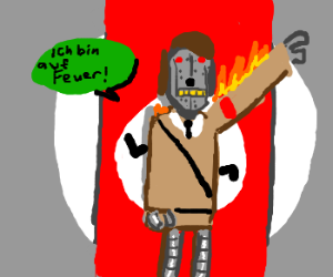 Robot Hitler on fire.