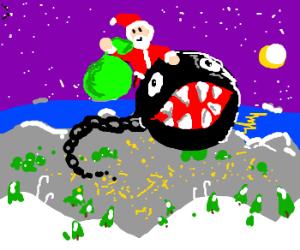 Santa riding a chain chomp