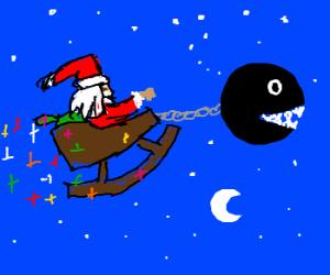 Screw reindeer! Santa rides a Chain Chomp!