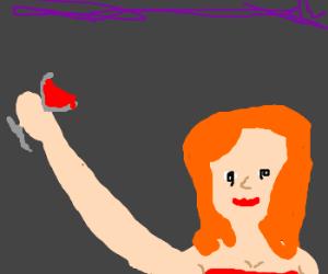 Redhead girl gets drunk