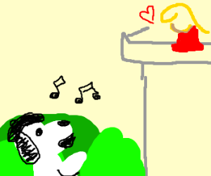 French Snoopy serenades his girl