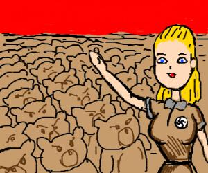 Nazi Barbie leads teddy bear army