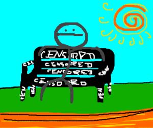 stick man sits on censored bench
