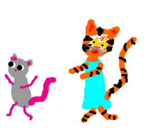 Tiger-girl catching a mouse