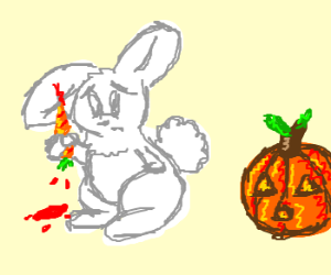 Bunny cut his ear w/carrot, pumkin is amazed
