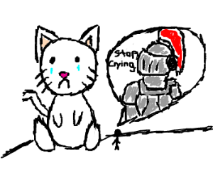 knight demands jumbo cat stops crying.
