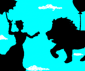 Mary Poppins punches lion in the face