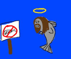 No Jesus fish allowed!