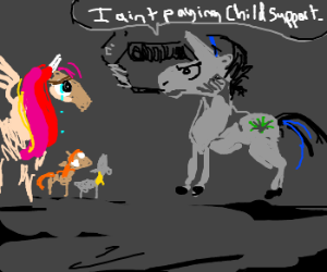 MLP unicorns argue over chld suprt, get deaged