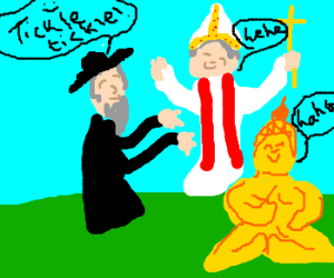 A Jewish priest tickling the pope and Buda