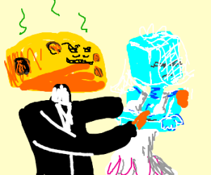 Cheesehead marries a reluctant ice-cubehead
