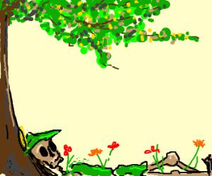 robin hood's skeleton grows flowers!