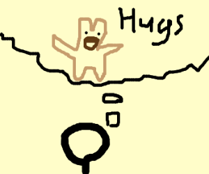 Man thinks about getting hugs from teddy bear