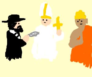 rabi tickles pope and budha