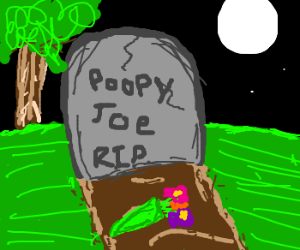 Grave of Poopy Joe with flowers moonlit night