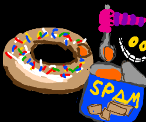 Jester Cat Fills Donut With Spam