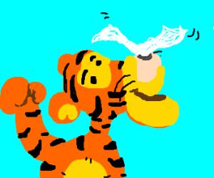 Proud Tigger balances Kleenex tissue on nose