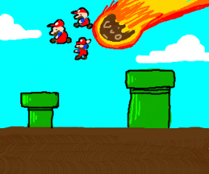 A bunch of Marios jump off an asteroid