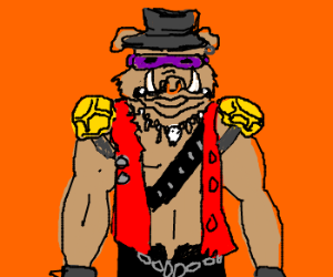 "Bebop from ""TMNT,"" wearing a fedora."