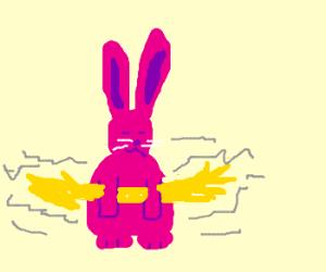 pink rabbit holding lightning bolt