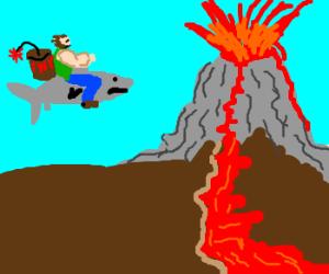 macho riding on shark into volcano with tnt