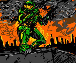 sureal painting of halo 2