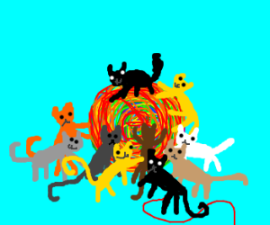 10 cats playing with yarn