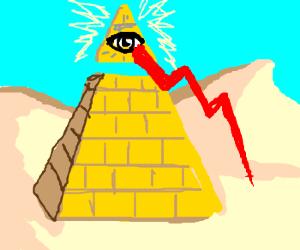 Illuminati monster in the desert.