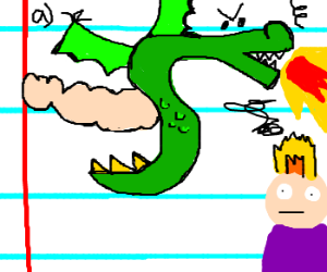 Classwork sketch of dragon burning people.
