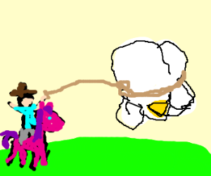 cowboy on pony lassoing giant pop corn cluster