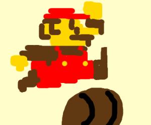 Classic Mario jumps over barrel