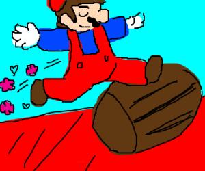 Mario leaps delicatly over a barrel