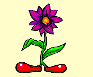 A flower with clown shoes instead of roots.