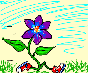 purple flower wearing red shoes . . .
