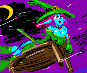Witch rides a coffee table instead of a broom.