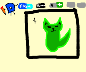 Drawing a green cat in Drawception