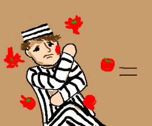 Prisoner is pelted with tomatoes