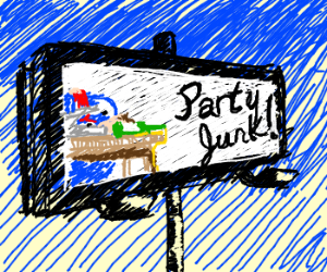 Billboard with party junk