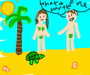 Adam and Eve look at a turtle