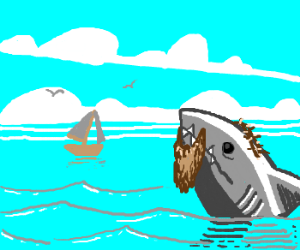Shark Jesus watches a sailing boat.