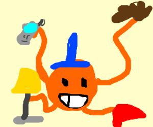 mr tickle holds shoes lamps phones and gloves