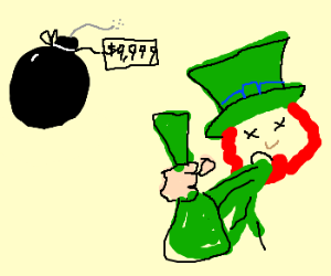 leprechaun puking absinthe and $9999 bombs