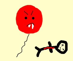 Angry red balloon waits for next victim