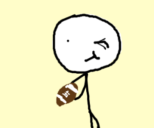 guy winks while holding football