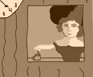 Victorian lady making tea inside clocktower