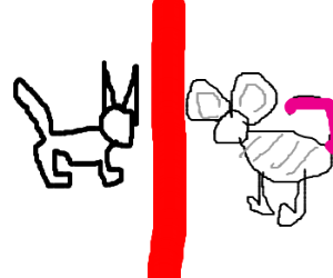 A cat is separated from a mouse by a red line