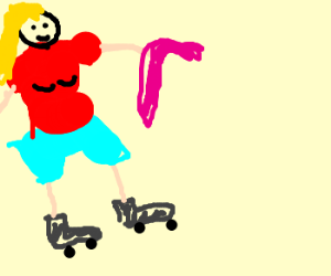Girl rollerblades with a pink cane